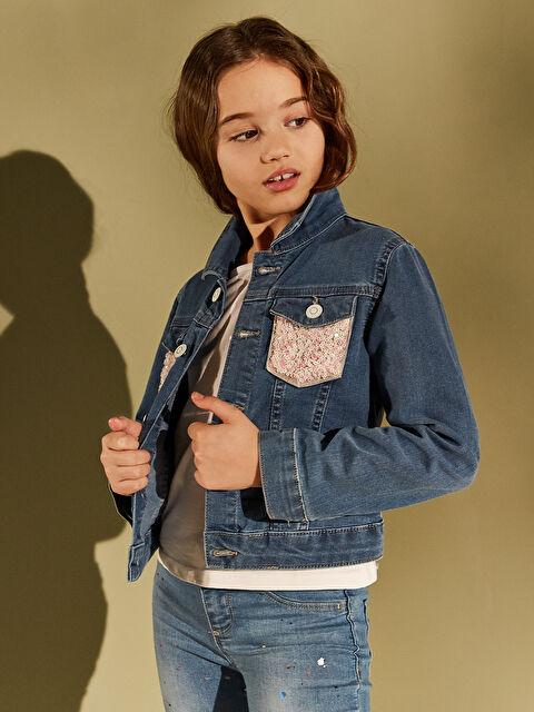 Kız Çocuk Pul İşlemeli Jean Ceket - LC WAIKIKI