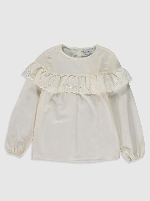 Kız Çocuk Fırfır Detaylı Poplin Bluz - LC WAIKIKI