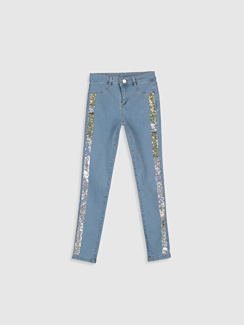 Kız Çocuk Pul İşlemeli Skinny Jean Pantolon - LC WAIKIKI