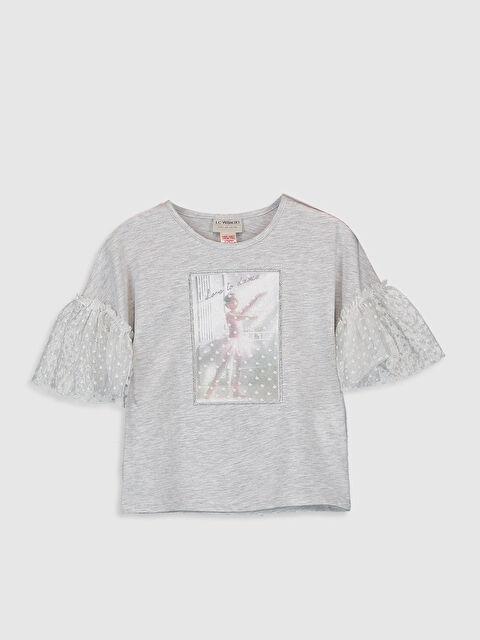 Kız Çocuk Kolları Tül Detaylı Tişört - LC WAIKIKI