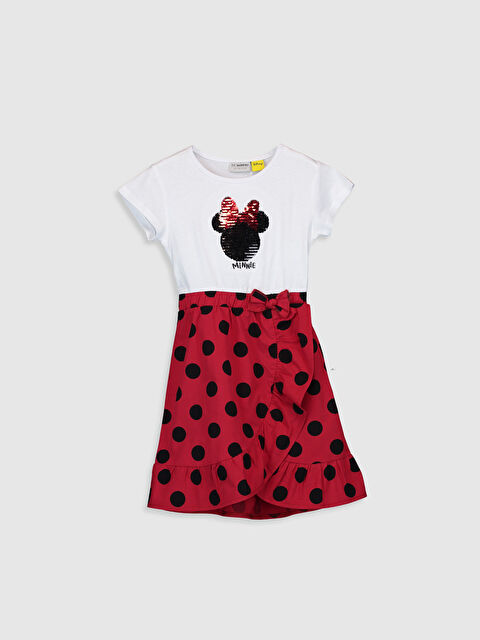 Kız Çocuk Minnie Mouse Çift Yönlü Payetli Pamuklu Elbise - LC WAIKIKI
