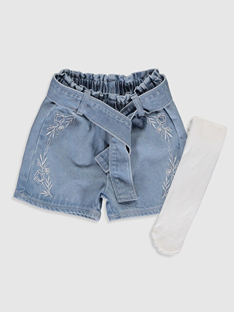 Kız Bebek Nakışlı Jean Şort ve Külotlu Çorap - LC WAIKIKI