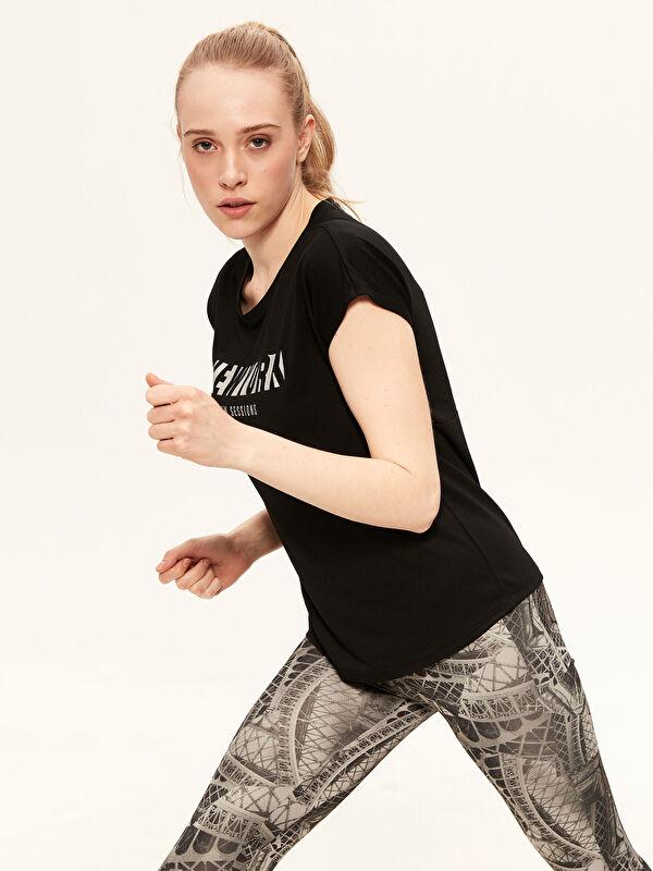 Baskılı Aktif Spor Kısa Kollu Kadın Tişört - LC WAIKIKI