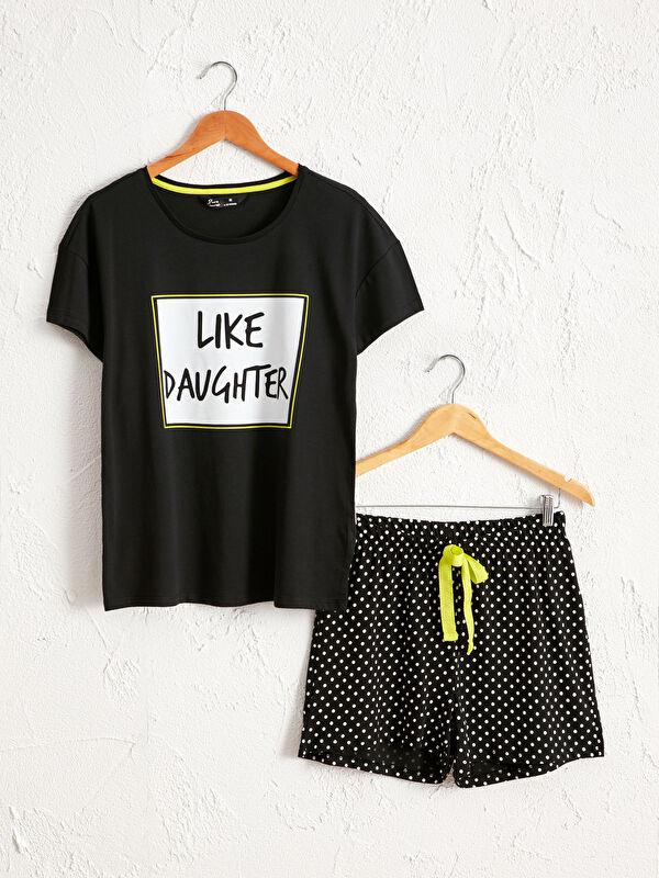 Yazı Baskılı Şortlu Pijama Takımı - LC WAIKIKI