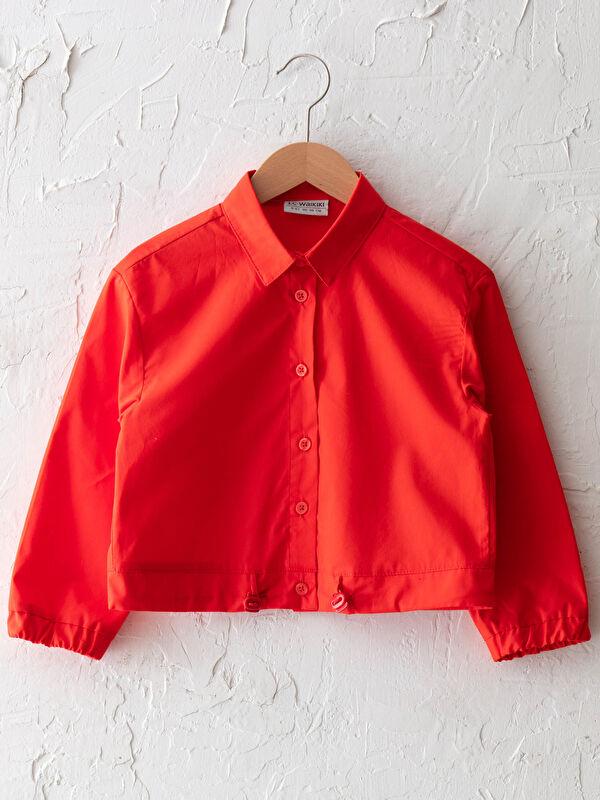 Basic Uzun Kollu Kız Çocuk Poplin Gömlek - LC WAIKIKI