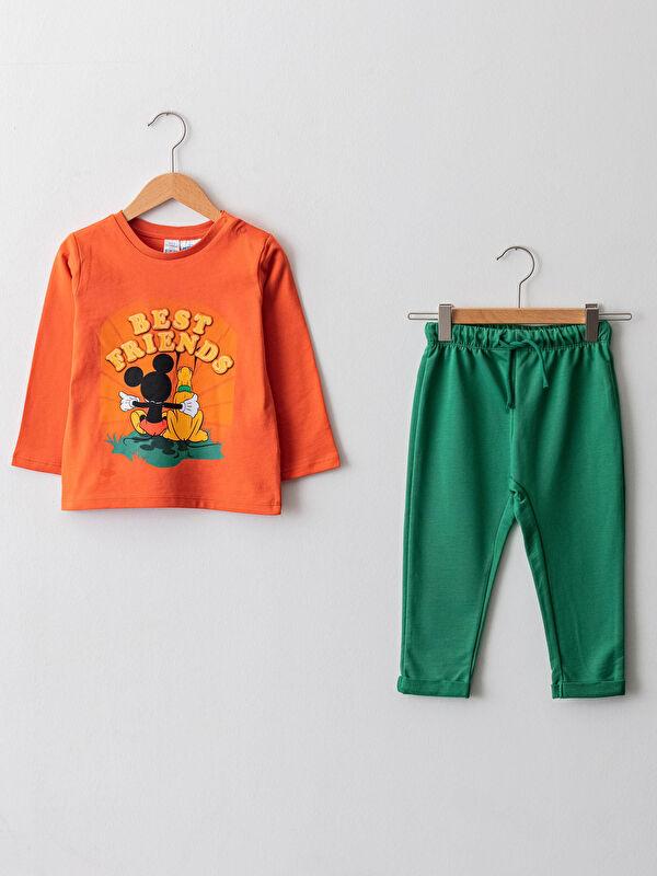 Bisiklet Yaka Uzun Kollu Mickey Mouse Baskılı Erkek Bebek Tişört ve Pantolon 2'li Takım - LC WAIKIKI
