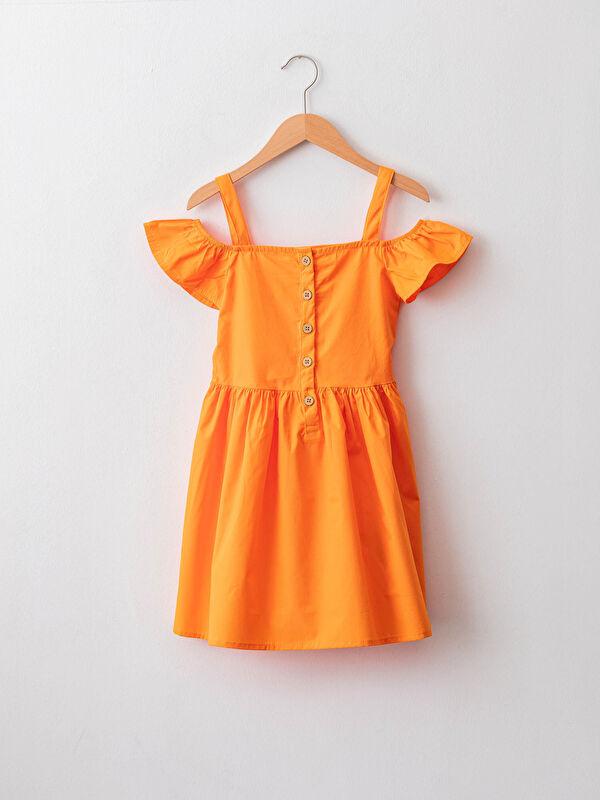 Kayık Yaka Basic Omuzları Açık Poplin Kız Çocuk Elbise - LC WAIKIKI
