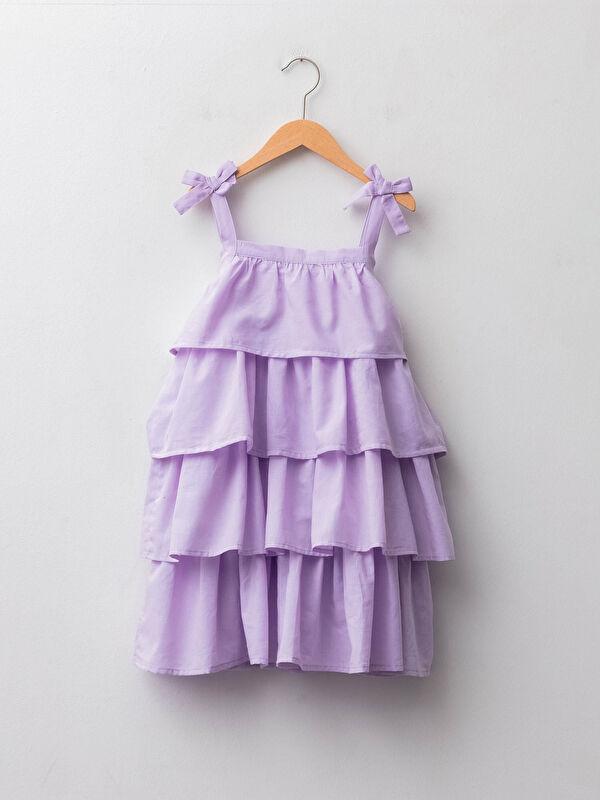 Kare Yaka Fırfır Detaylı Askılı Poplin Kız Çocuk Elbise - LC WAIKIKI