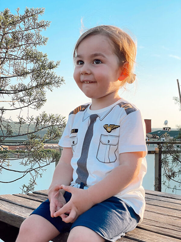 Bisiklet Yaka Kısa Kollu Baskılı Erkek Bebek Pilot Kostüm - LC WAIKIKI