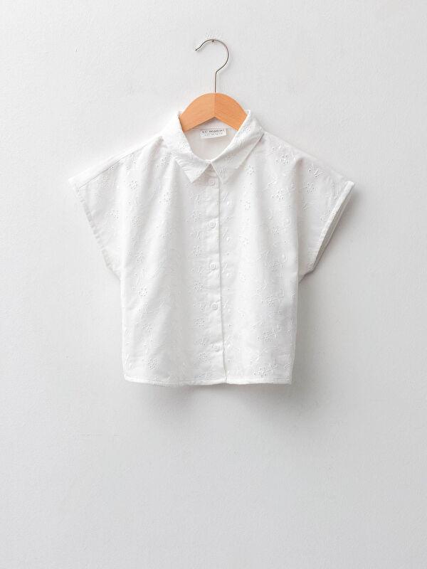 Fisto Detaylı Kısa Kollu Poplin Kız Çocuk Gömlek - LC WAIKIKI