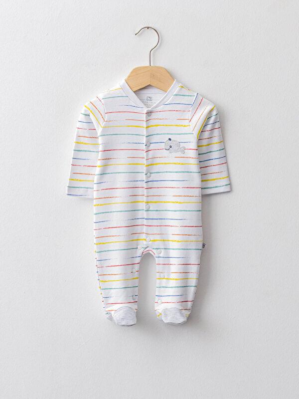 Bıorganic V Yaka Uzun Kollu Çizgili Organik Pamuklu Unisex Bebek Tulum - Markalar