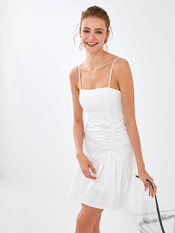 Appleline Save The Date Kare Yaka Askılı Volanlı Elbise - LC WAIKIKI