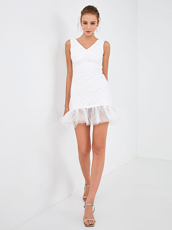 Save The Date Volanlı Mini Dantel Elbise - LC WAIKIKI