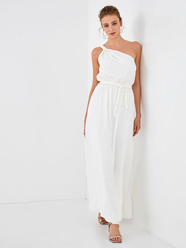Appleline Save The Date Dokulu Kumaştan Kuşaklı Tek Omuz Elbise - LC WAIKIKI