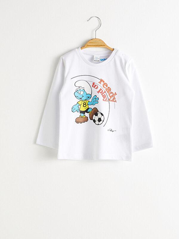 Erkek Bebek Şirinler Baskılı Tişört - LC WAIKIKI