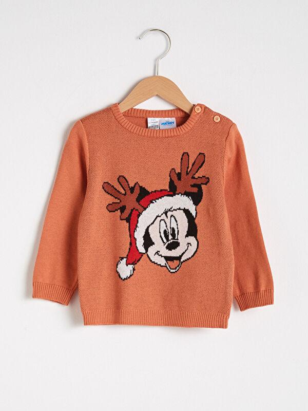Erkek Bebek Mickey Mouse Baskılı Yılbaşı Temalı Triko Kazak - LC WAIKIKI