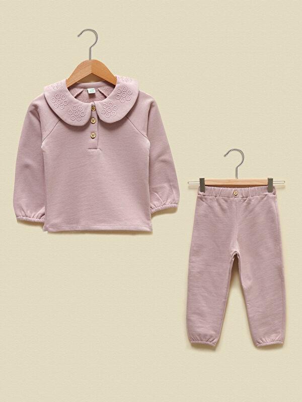 LCW GREEN Kız Bebek Organik Pamuklu Sweatshirt ve Pantolon - LC WAIKIKI