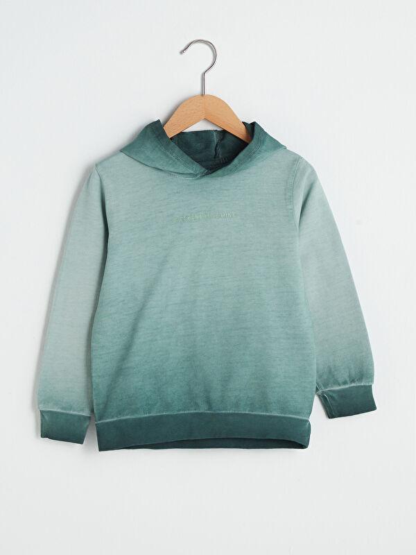 Kapüşonlu Nakış Detaylı Uzun Kollu Erkek Çocuk Sweatshirt - LC WAIKIKI