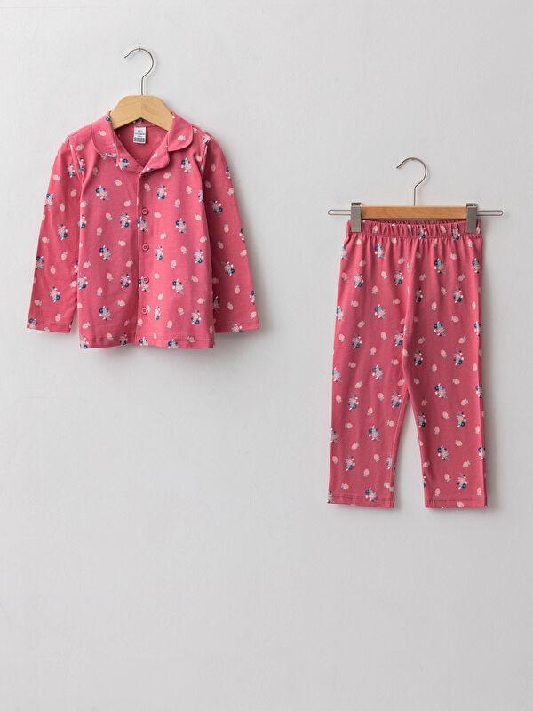 Gömlek Yaka Uzun Kollu Desenli Pamuklu Kız Bebek Pijama Takımı - LC WAIKIKI