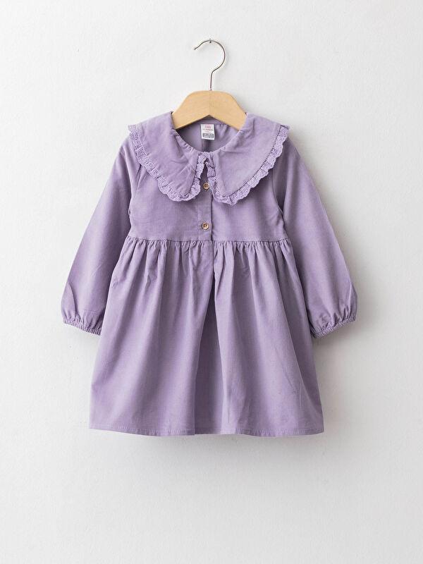 Bebe Yaka Uzun Kollu Pamuklu Kadife Kız Bebek Elbise - LC WAIKIKI