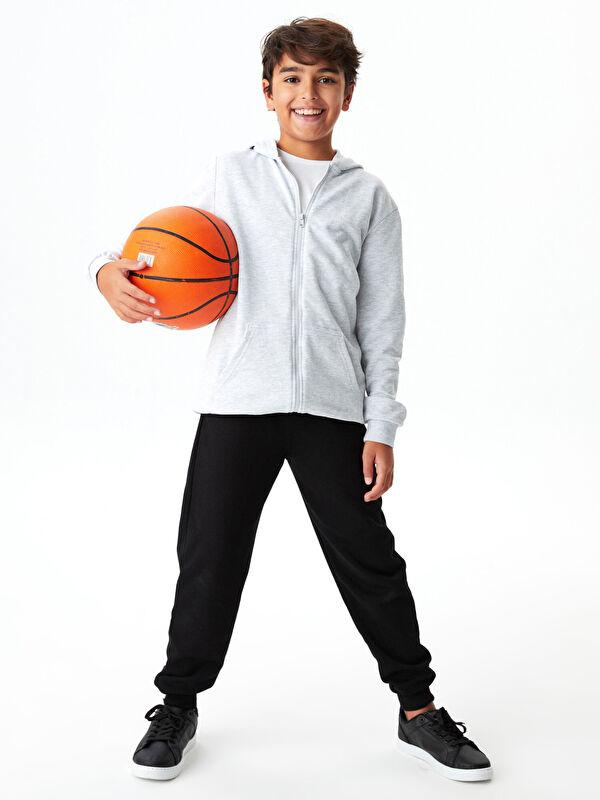 Kapüşonlu Basic Uzun Kollu Erkek Çocuk Fermuarlı Sweatshirt - LC WAIKIKI