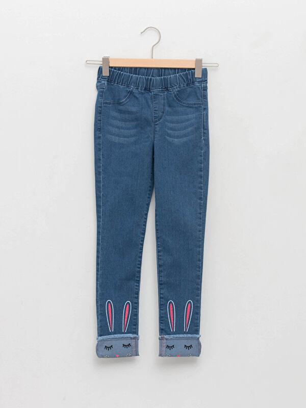 Beli Lastikli Super Skinny Fit Nakışlı Kız Çocuk Jean Pantolon - LC WAIKIKI
