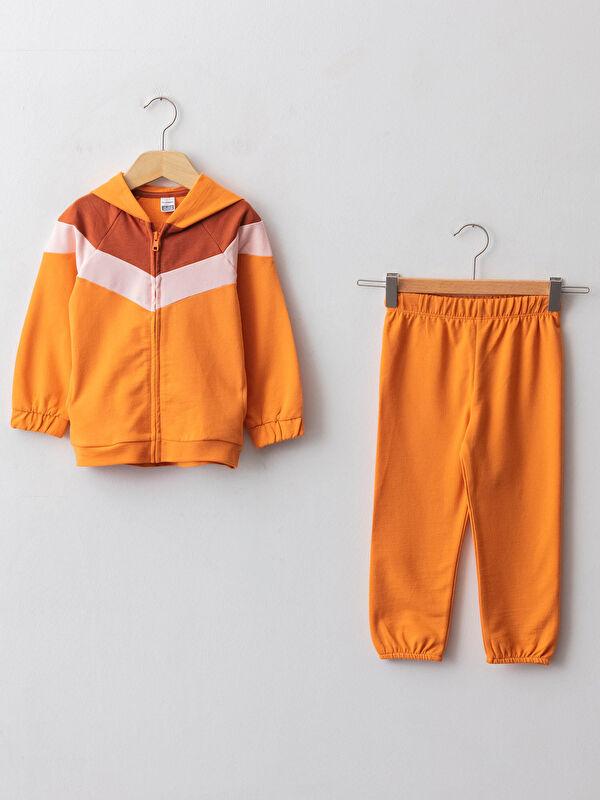 Kapüşonlu Uzun Kollu Kız Bebek Fermuarlı Sweatshirt ve Pantolon 2'li Takım - LC WAIKIKI