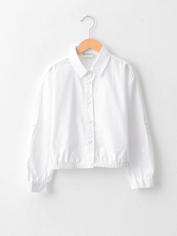 Basic Uzun Kollu Poplin Kız Çocuk Gömlek - LC WAIKIKI