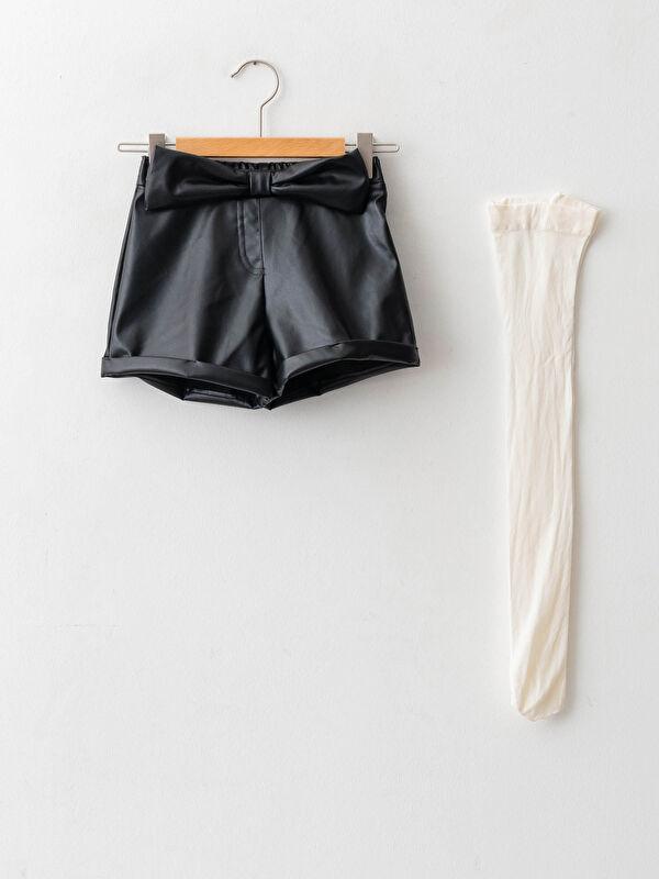 Beli Lastikli Deri Görünümlü Kız Bebek Şort ve Külotlu Çorap 2'li Takım - LC WAIKIKI