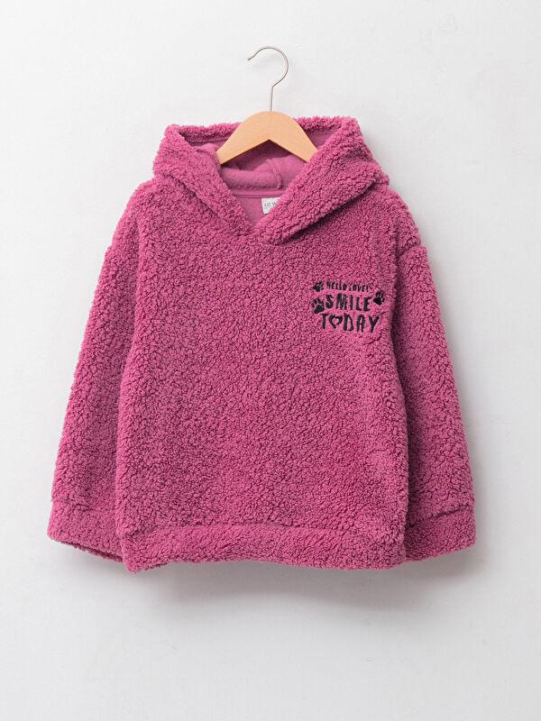 Kapüşonlu Nakışlı Uzun Kollu Pelüş Kız Çocuk Sweatshirt - LC WAIKIKI