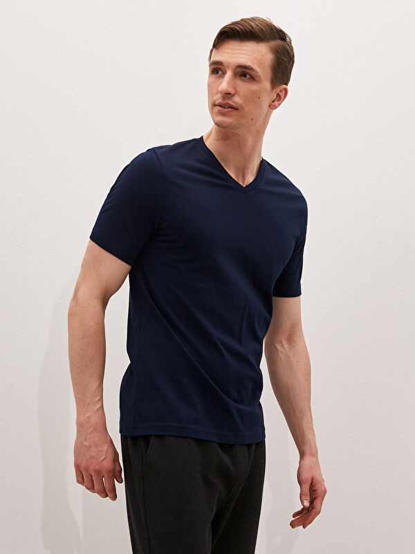 LCW BASIC V Yaka Kısa Kollu Basic Erkek Tişört - LC WAIKIKI