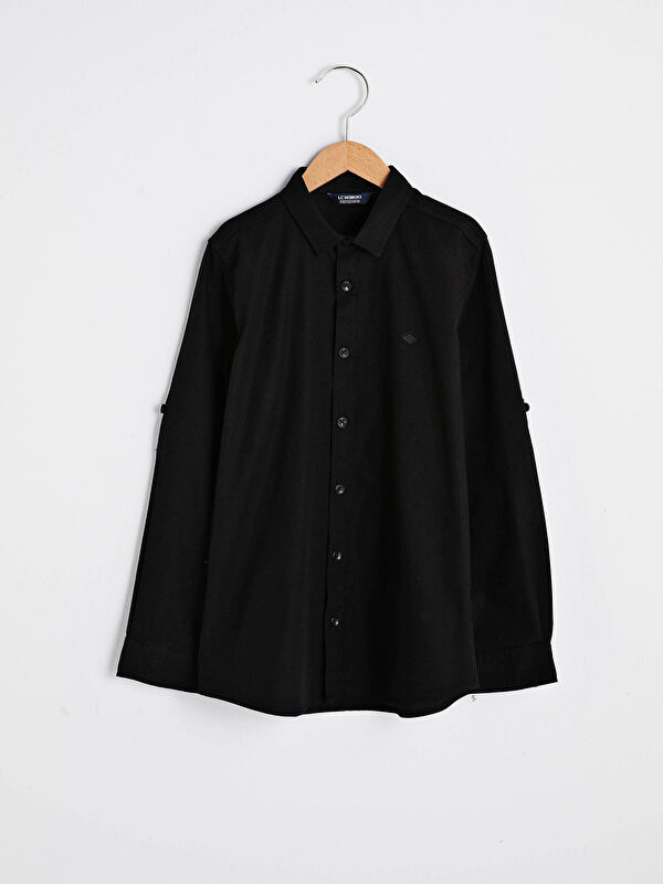 Basic Uzun Kollu Pamuklu Erkek Çocuk Gömlek - LC WAIKIKI
