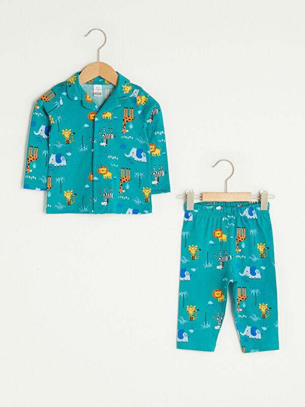 Gömlek Yaka Uzun Kol Baskılı Erkek Bebek Pijama Takımı - LC WAIKIKI