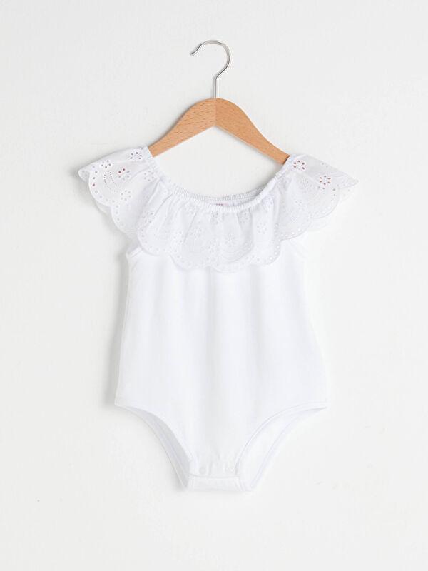 Fırfırlı Kayık Yaka Basic Kız Bebek Çıtçıtlı Body - LC WAIKIKI