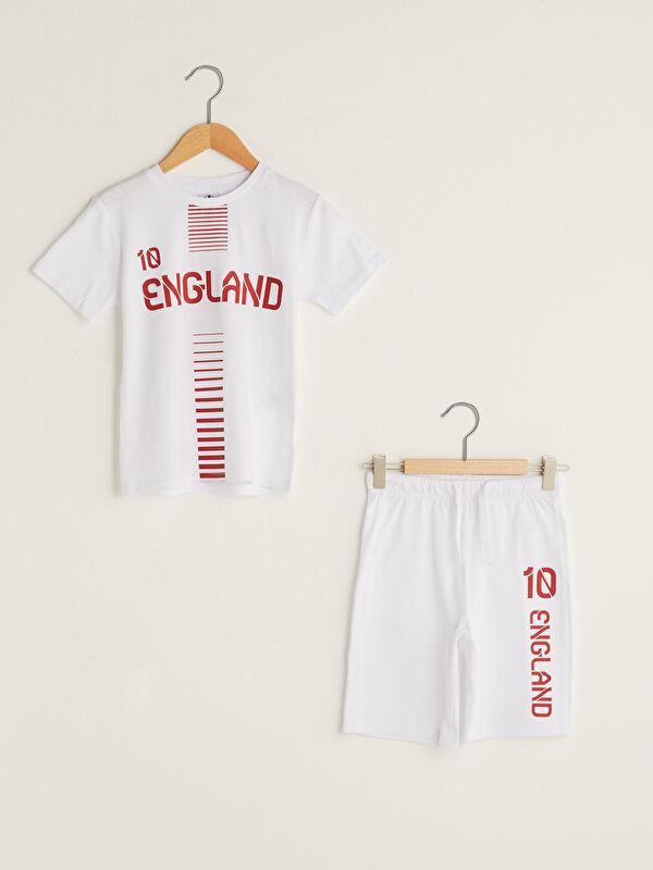 Bisiklet Yaka EURO 2020 İngiltere Baskılı Kısa Kollu Erkek Çocuk Tişört ve Şort - Markalar