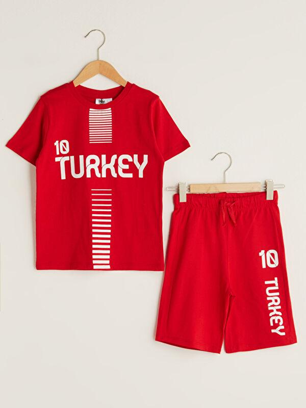 Bisiklet Yaka UEFA EURO 2020 Türkiye Baskılı Kısa Kollu Erkek Çocuk Tişört ve Şort - Markalar