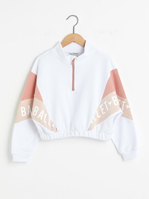 Dik Yaka Baskılı Renk Bloklu Uzun Kollu Kız Çocuk Sweatshirt - LC WAIKIKI