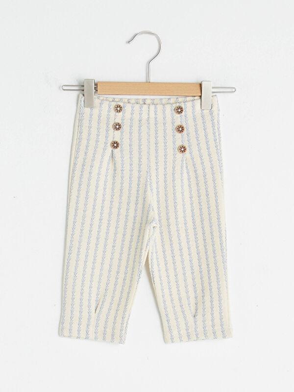 Düğme Detaylı Çizgili Kız Bebek Pantolon - LC WAIKIKI