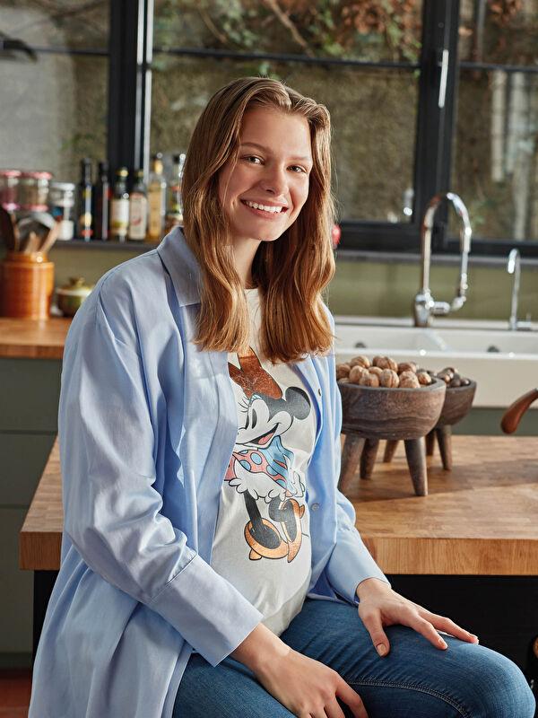 Gömlek Yaka Düz Uzun Kollu Oxford Hamile Tunik - LC WAIKIKI