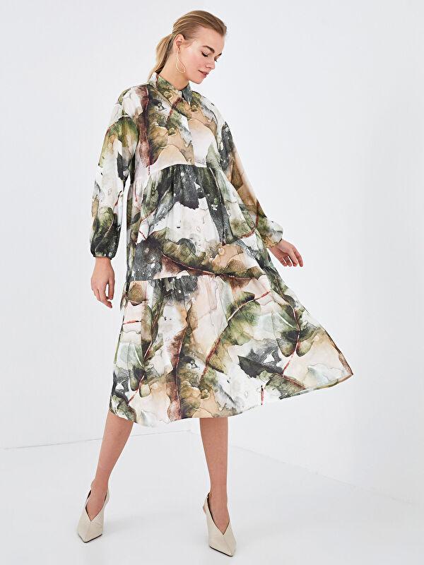 LCW CLASSIC Gömlek Yaka Baskılı Poplin Elbise - LC WAIKIKI
