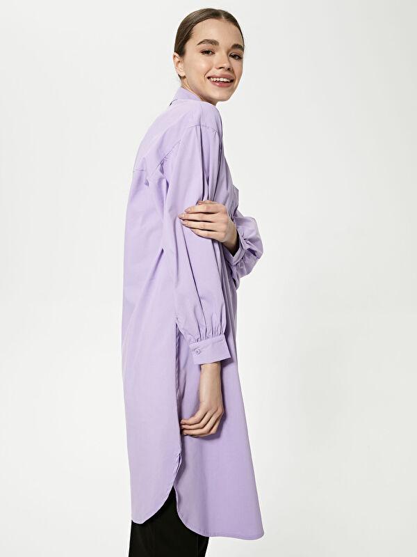 MODEST Gömlek Yaka Düz Uzun Kollu Oversize Poplin Kadın Tunik - LC WAIKIKI