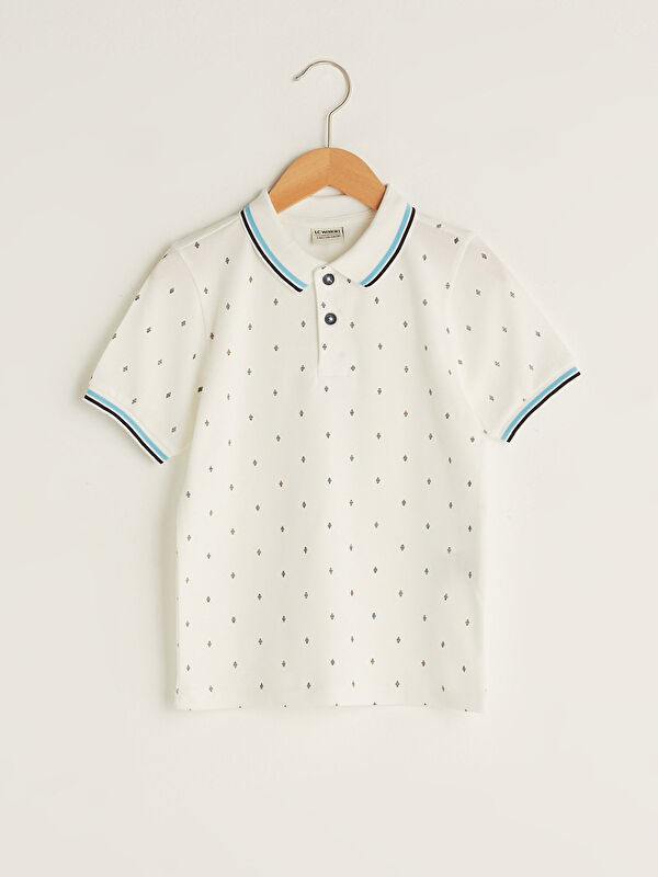Polo Yaka Baskılı Kısa Kollu Pamuklu Erkek Çocuk Tişört - LC WAIKIKI