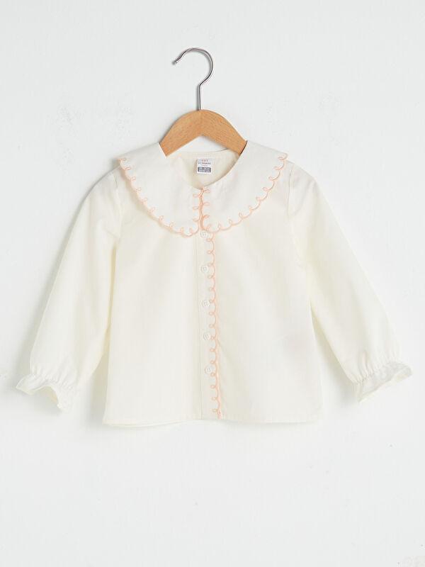 Bebe Yaka Nakışlı Pamuklu Kız Bebek Gömlek - LC WAIKIKI