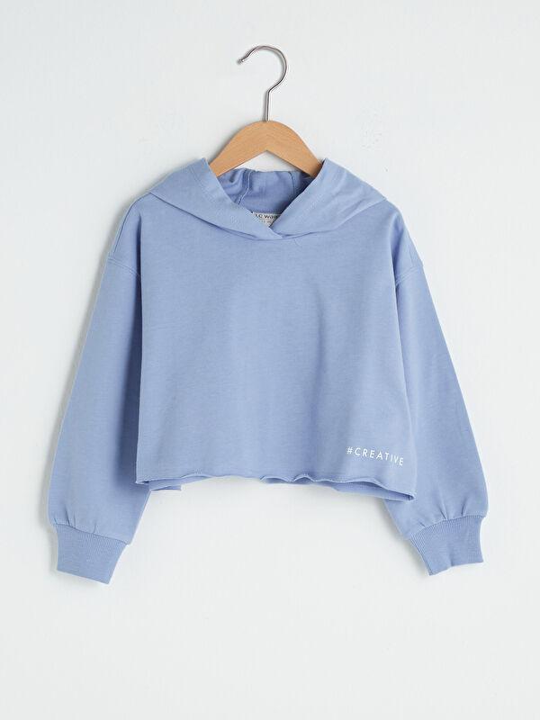 Kapüşonlu Basic Uzun Kollu Kız Çocuk Sweatshirt - LC WAIKIKI
