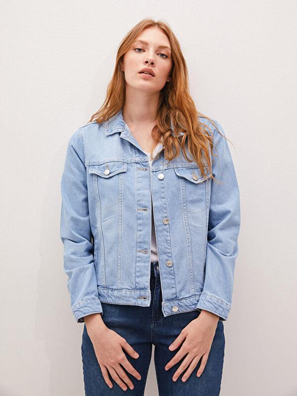 Düğme Kapamalı Uzun Kollu Kadın Rodeo Jean Ceket - LC WAIKIKI