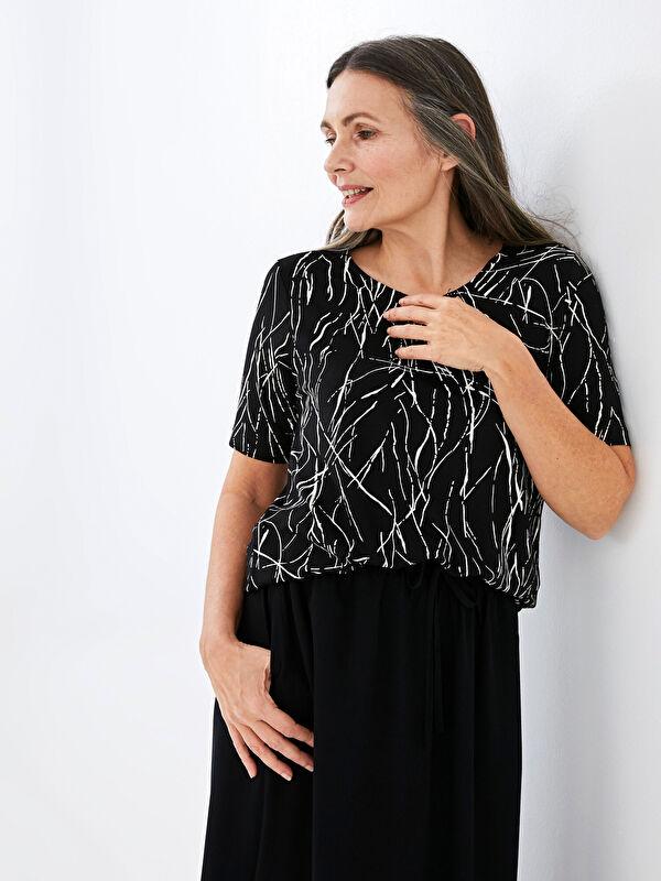 V Yaka Baskılı Kısa Kollu Kadın Tişört - LC WAIKIKI