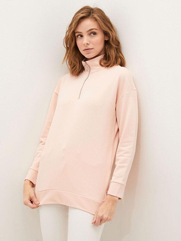 Dik Yaka Düz Uzun Kollu Kadın Sweatshirt - LC WAIKIKI