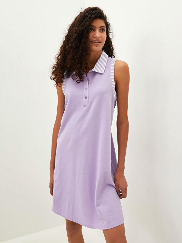 Gömlek Yaka Çizgili Düğme Detaylı Pike Kumaş Kadın Plaj Elbisesi - LC WAIKIKI