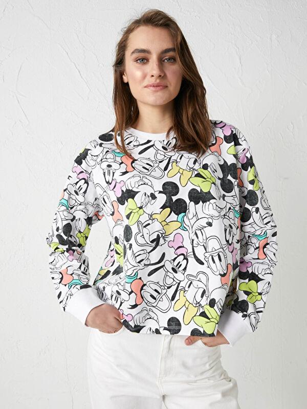 Bisiklet Yaka Mickey ve Arkadaşları Baskılı Uzun Kollu Kadın Sweatshirt Anne Kız Kombini - LC WAIKIKI