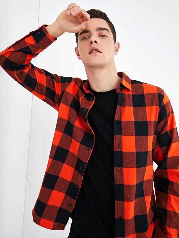 XSIDE Slim Fit Uzun Kollu Oduncu Ekose Erkek Gömlek - LC WAIKIKI